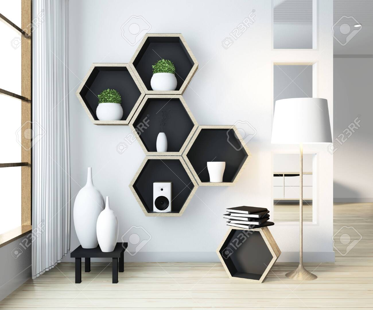 Idea of Hexagon shelf wooden design on wall on livingroom modern..