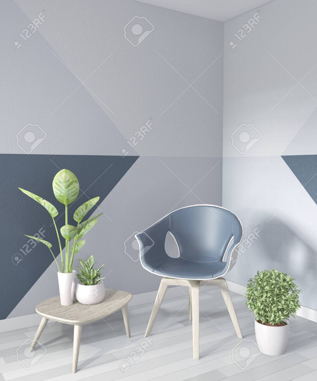 Ideas Of Living Room Blue Geometric Wall Art Paint Design Color Stock Photo Picture And Royalty Free Image Image 130045610