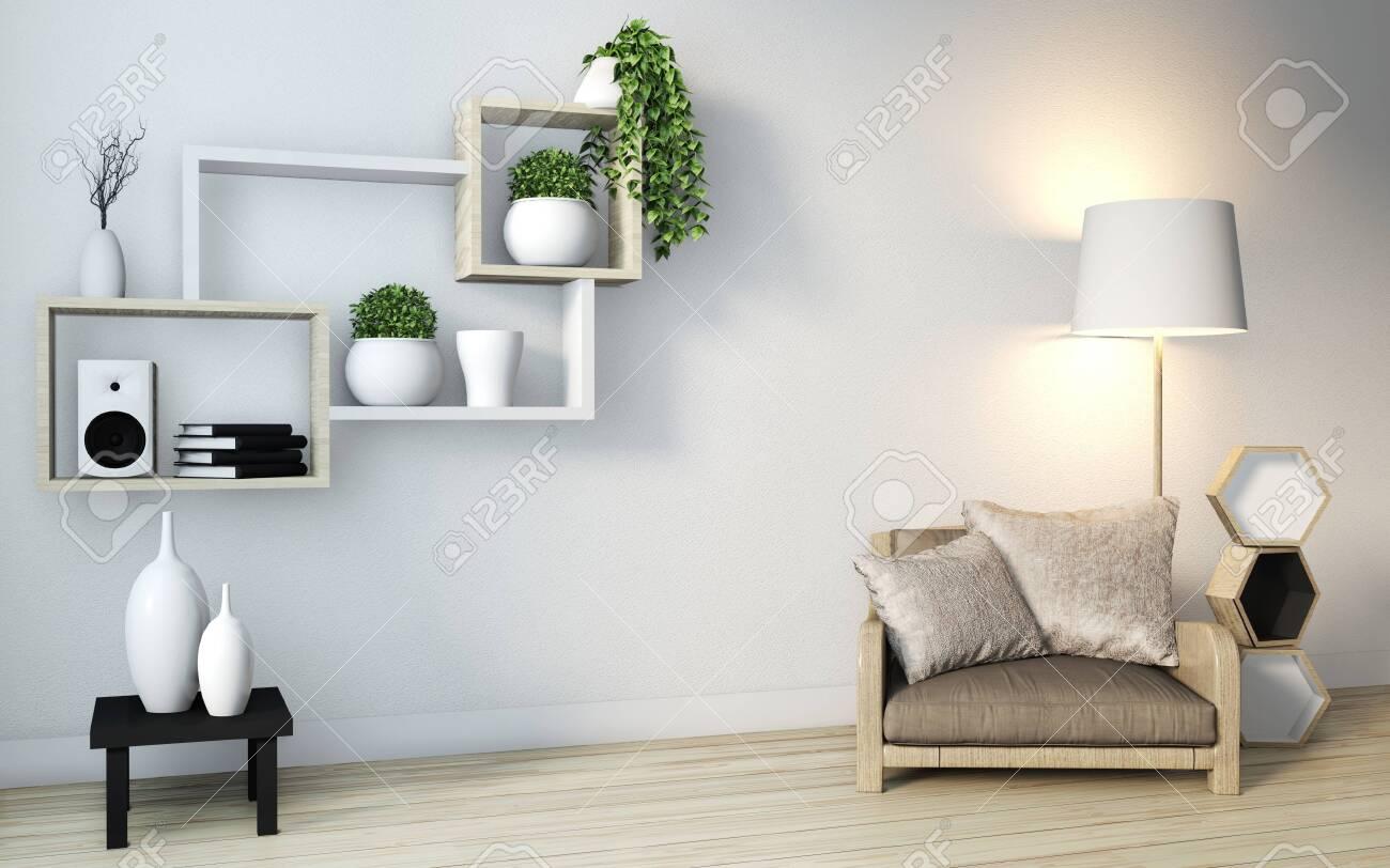 Minimalist modern zen living room with wood floor and shelf wooden..
