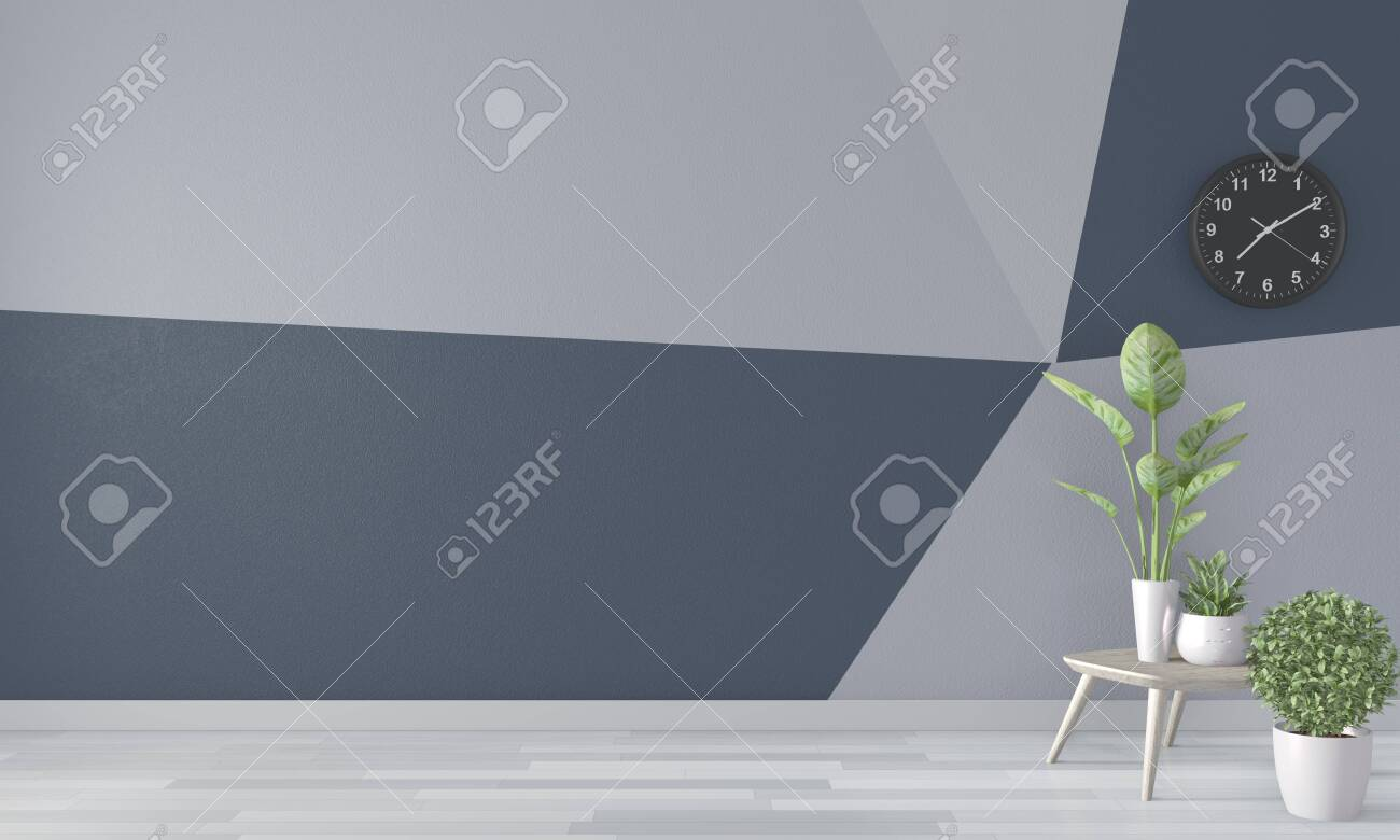Ideas Of Living Room Blue Geometric Wall Art Paint Design Color Stock Photo Picture And Royalty Free Image Image 130662112