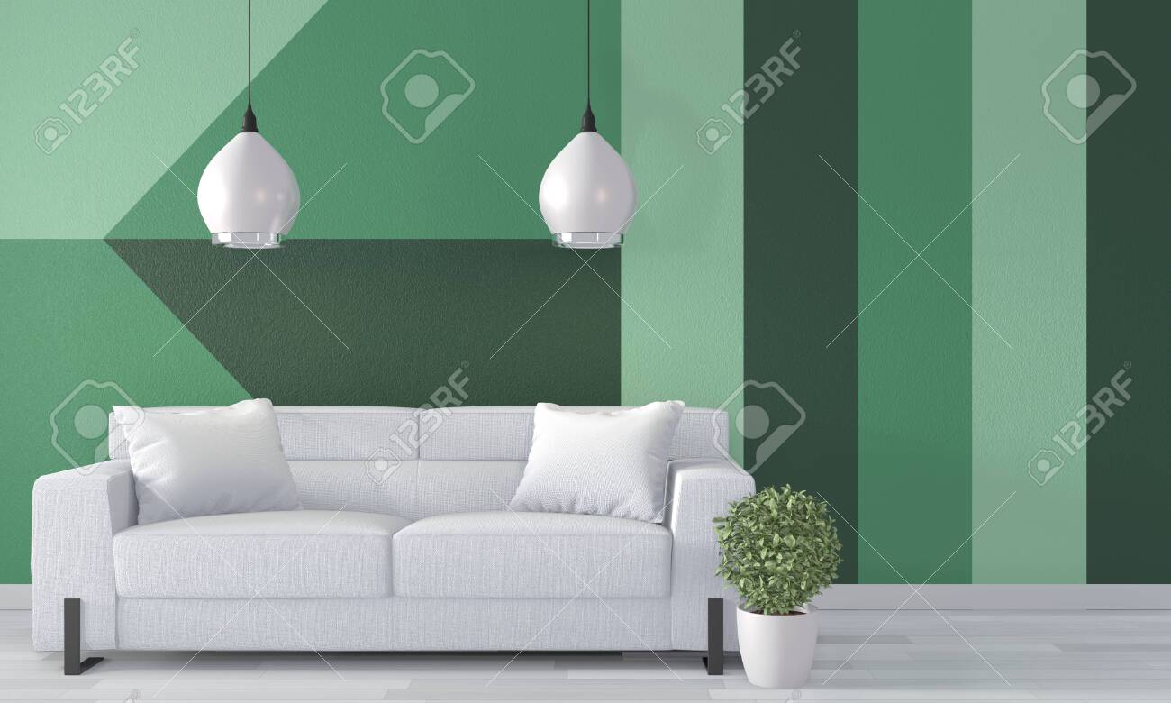 Ideas Of Green Room Geometric Wall Art Paint Design Color Full Stock Photo Picture And Royalty Free Image Image 130665034