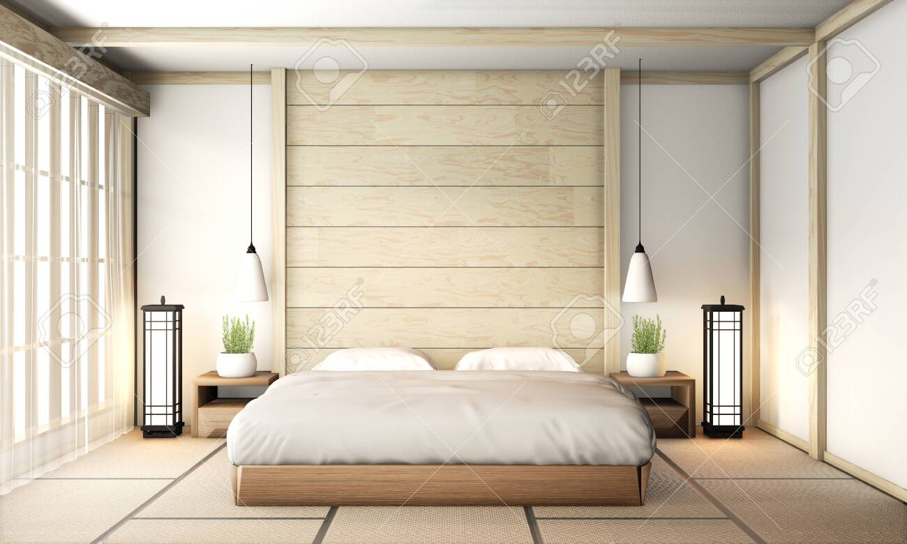 Bedroom Zen Interior Design With Tatami Mat Floor And Wooden Stock Photo Picture And Royalty Free Image Image 131519873