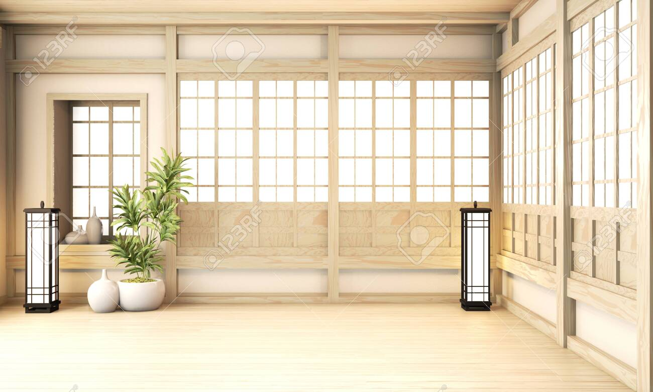 Big Ryokan Room Interior Design Zen Japanese Style And Wooden Stock Photo Picture And Royalty Free Image Image 131519739