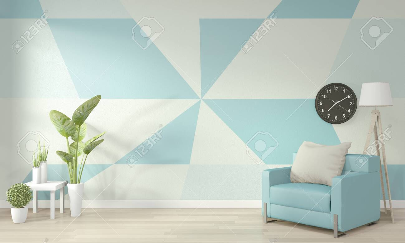 Ideas Of Light Blue And White Living Room Geometric Wall Art Stock Photo Picture And Royalty Free Image Image 131521148