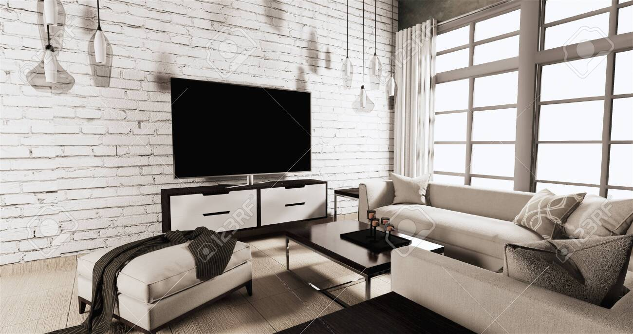 Smart Tv On Cabinet In Living Room Loft Style With White Brick Stock Photo Picture And Royalty Free Image Image 135055890