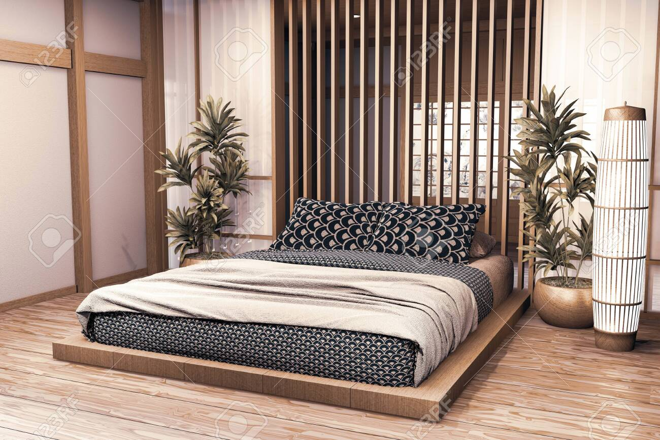 Luxury modern Japanese style bedroom mock up, Designing the most..