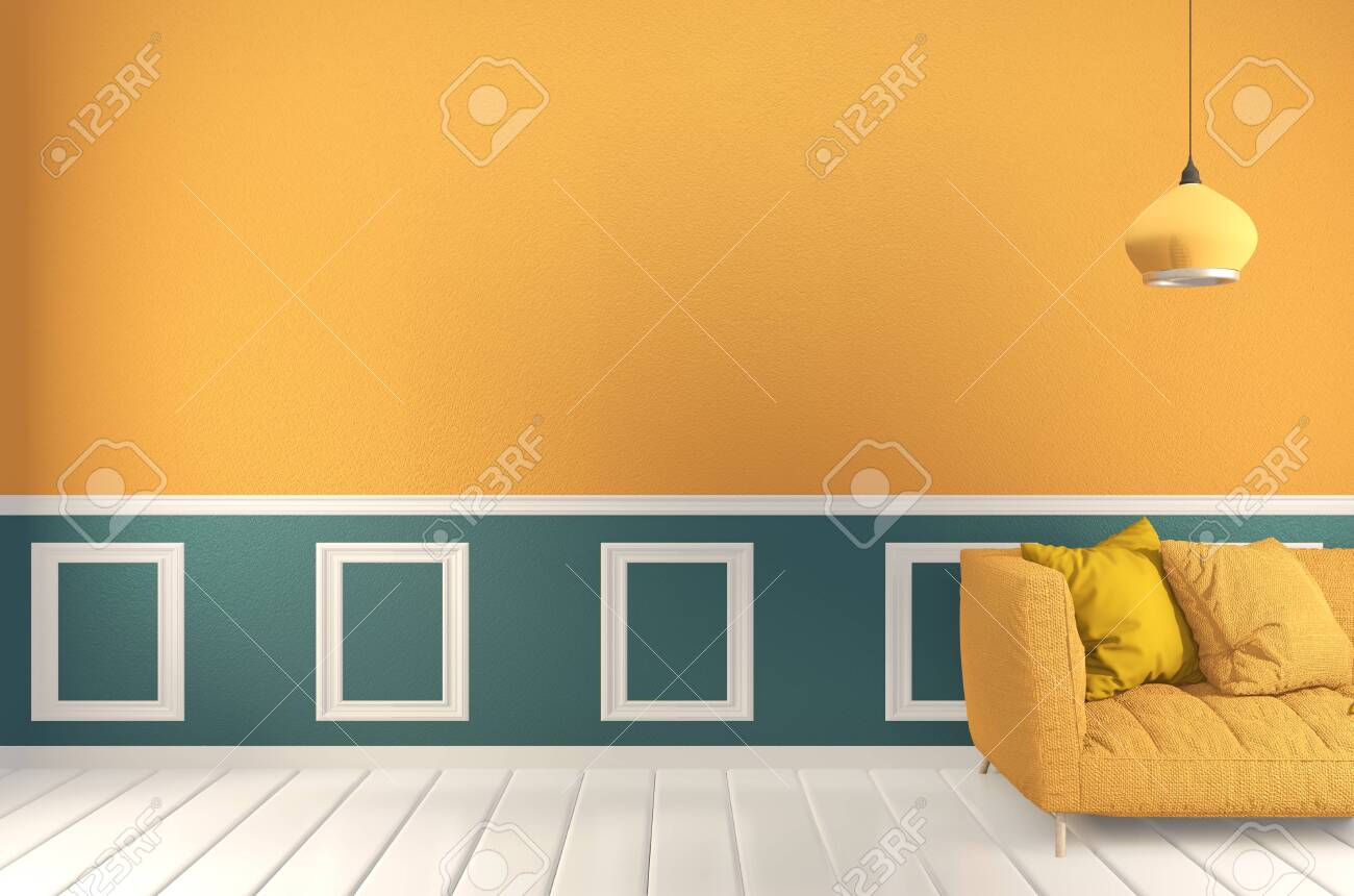 room Green and yellow, Sofa yellow and decoration plants on light green wall and wooden floor.3D rendering - 137447613