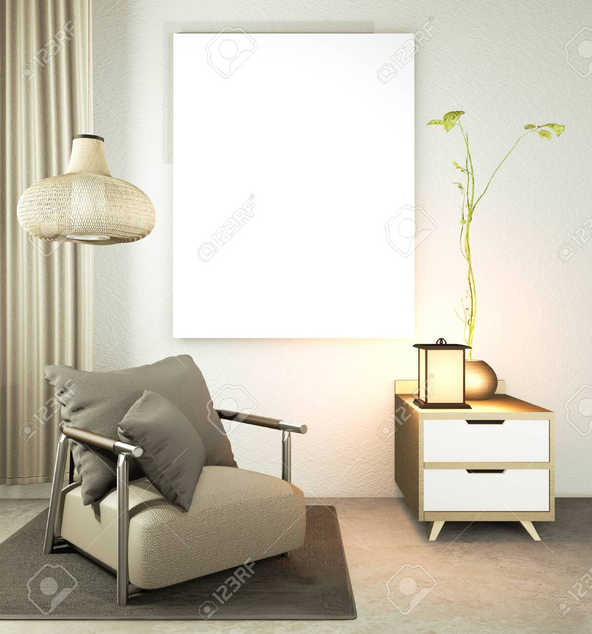 Picture of: Living Room Japanese Style With Wooden Table Lamps And Armchair Stock Photo Picture And Royalty Free Image Image 151369990