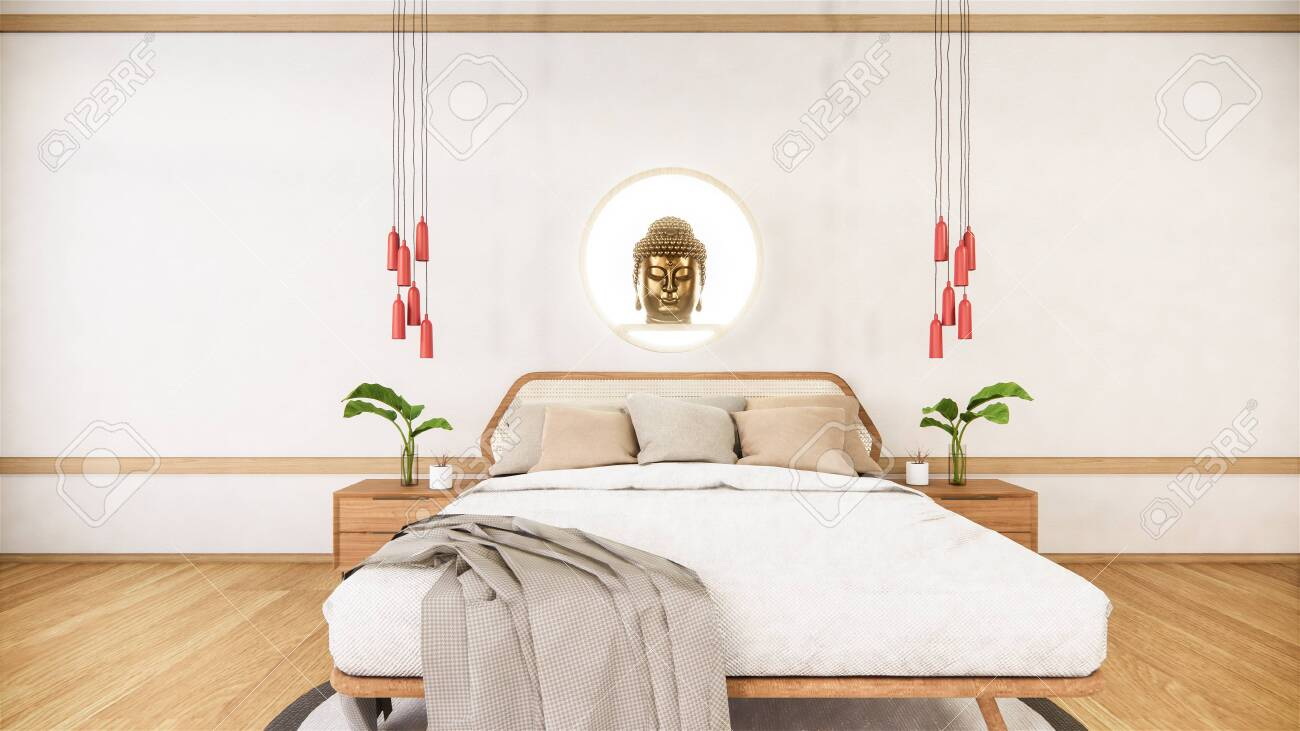 Bedroom Mock Up With Wooden Bed In Japan Minimal Design 3d Rendering Stock Photo Picture And Royalty Free Image Image 151371493