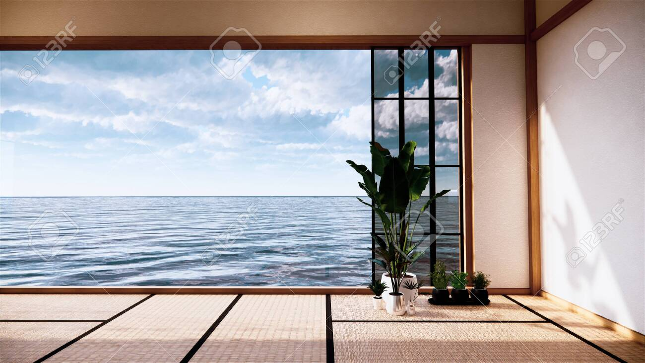 Japan Room Interior Japanese Style 3d Rendering In View Sea 3d Stock Photo Picture And Royalty Free Image Image 152955134