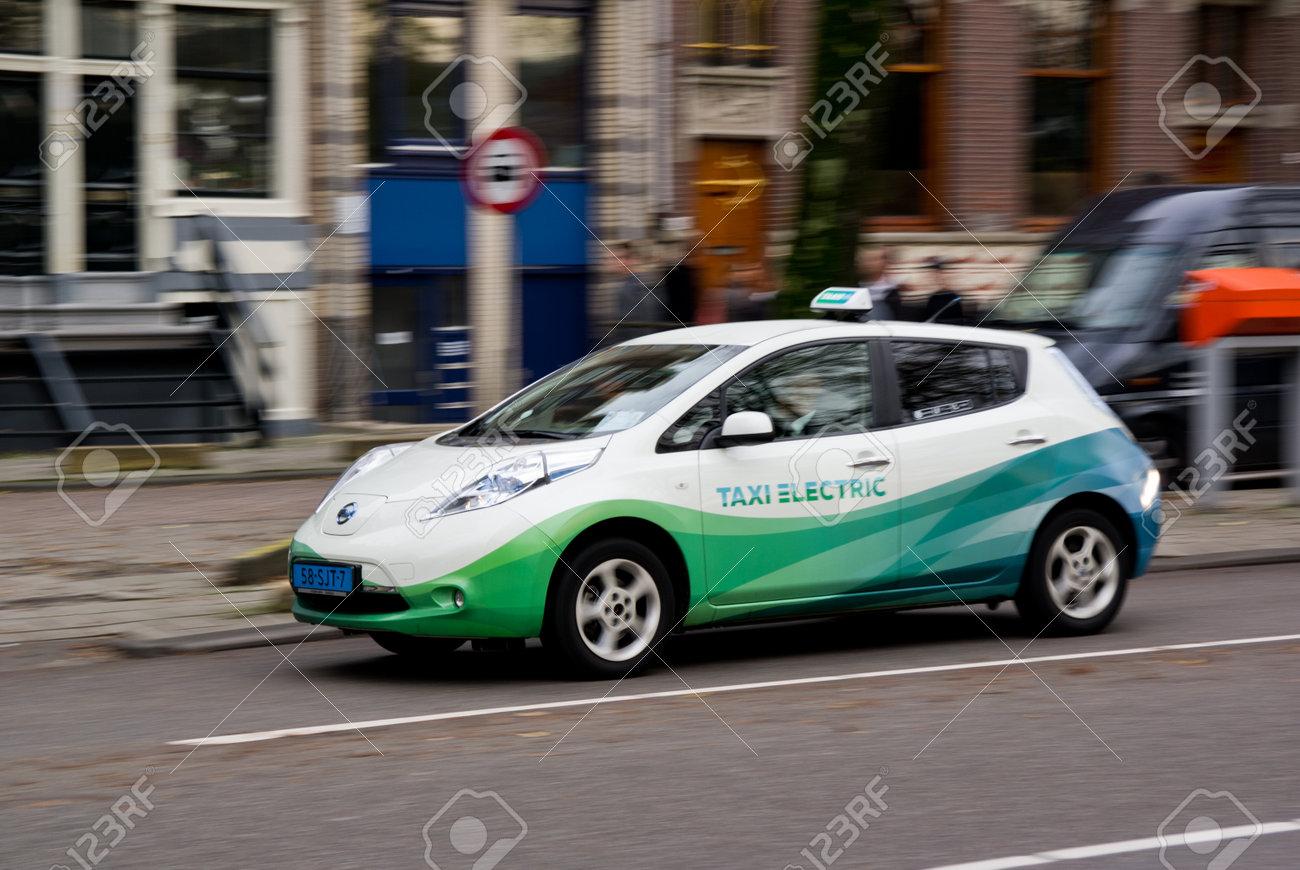 Amsterdam Netherlands November Nissan Leaf Electrical Car