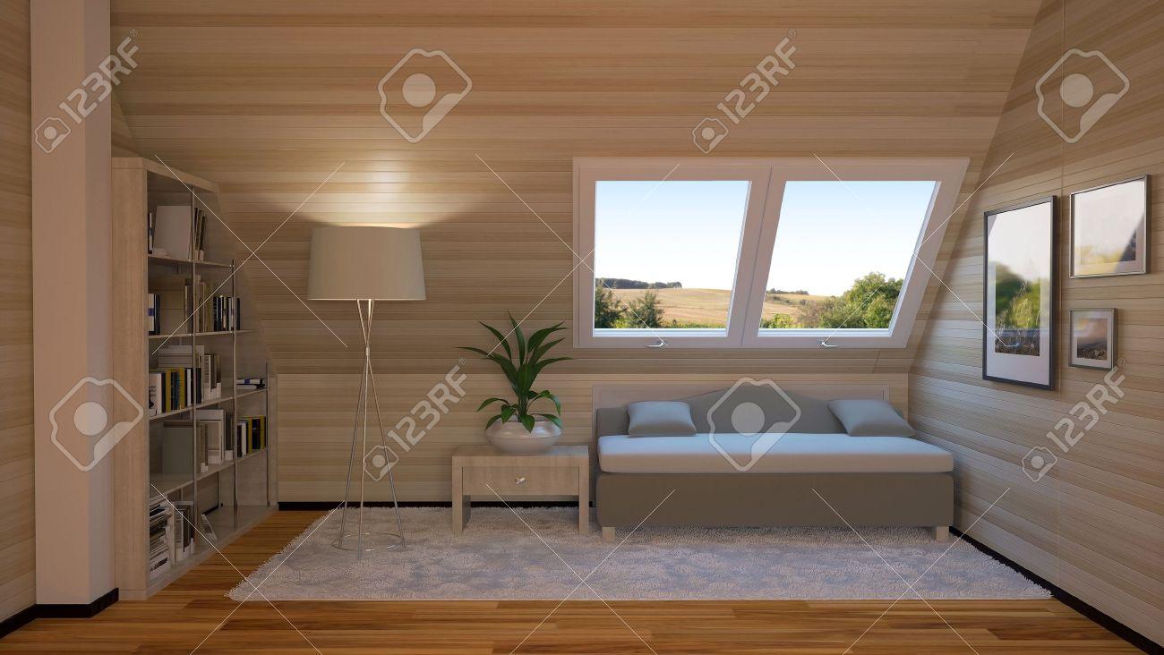 Interiör från ett loft i stugan, inklusive: en soffa, en lampa ...