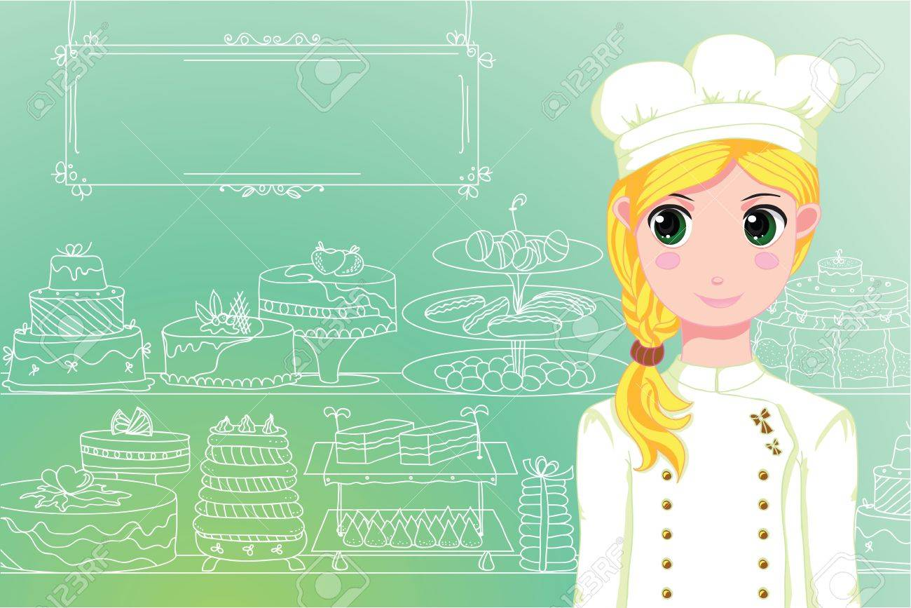 Cute chef in front of shop Stock Vector - 9743195