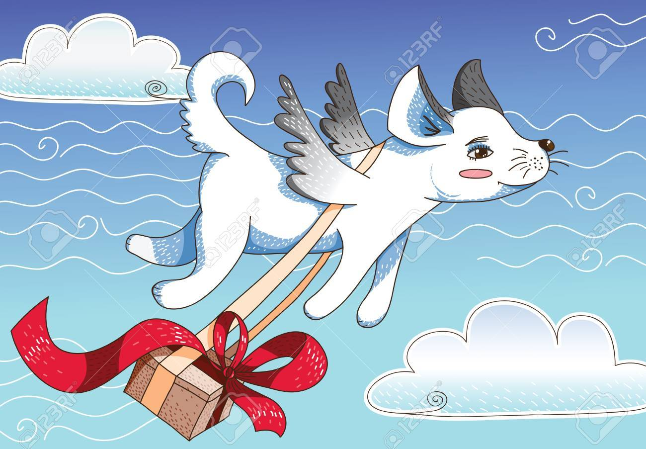 Magic flying dog with gift box Stock Vector - 10561413