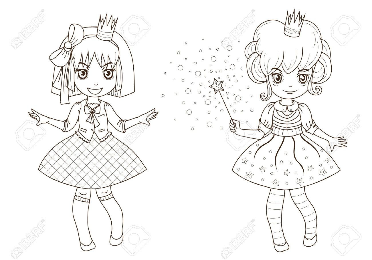 fairy tale princesses for coloring book outline royalty free