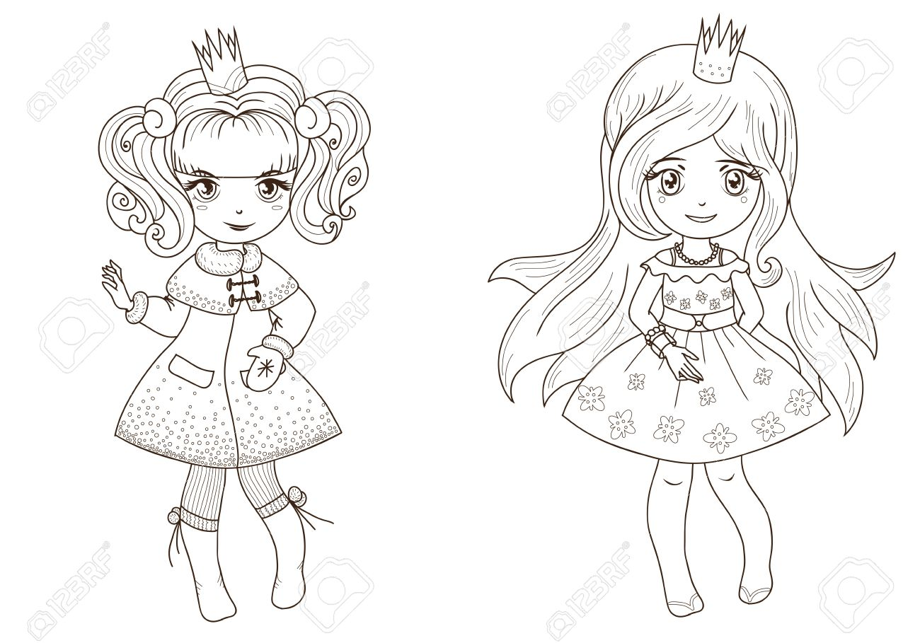 Coloring book princess - Fairy Tale Princesses For Coloring Book Outline Stock Vector 10639873