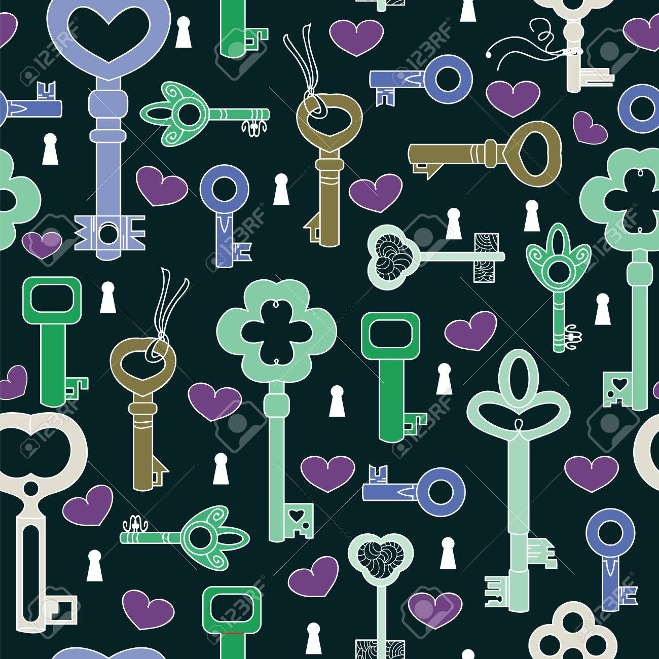 Seamless pattern with hearts and keys Stock Vector - 11966497