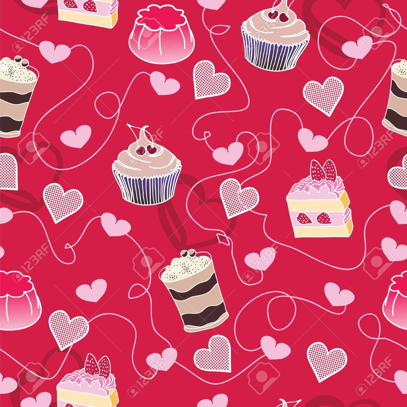 Sweet cute valentine desserts pattern Stock Vector - 11966505