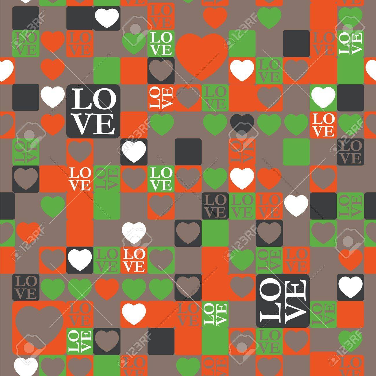 LOVE and heart modern pattern Stock Vector - 12054945
