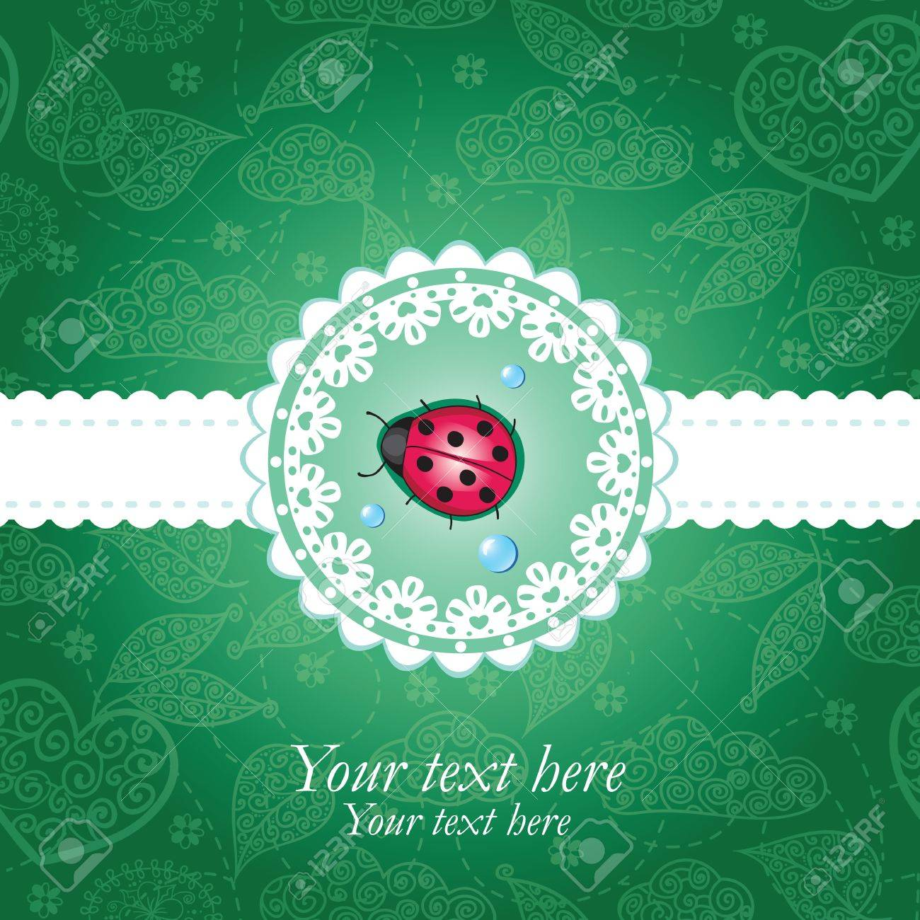 Ladybug green & lace background Stock Vector - 12197303