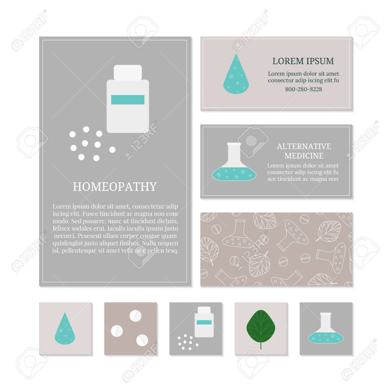 Business Card Templates With Medical Icons. Branding Elements ...