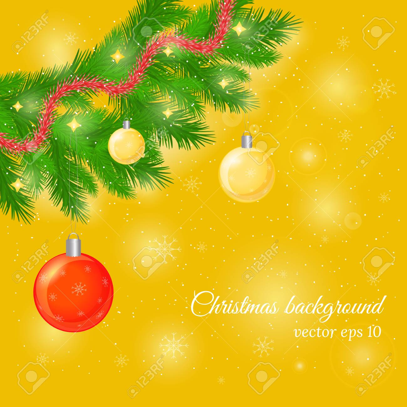 christmas and new year background with pine tree twigs glossy balls and trumpery beautiful