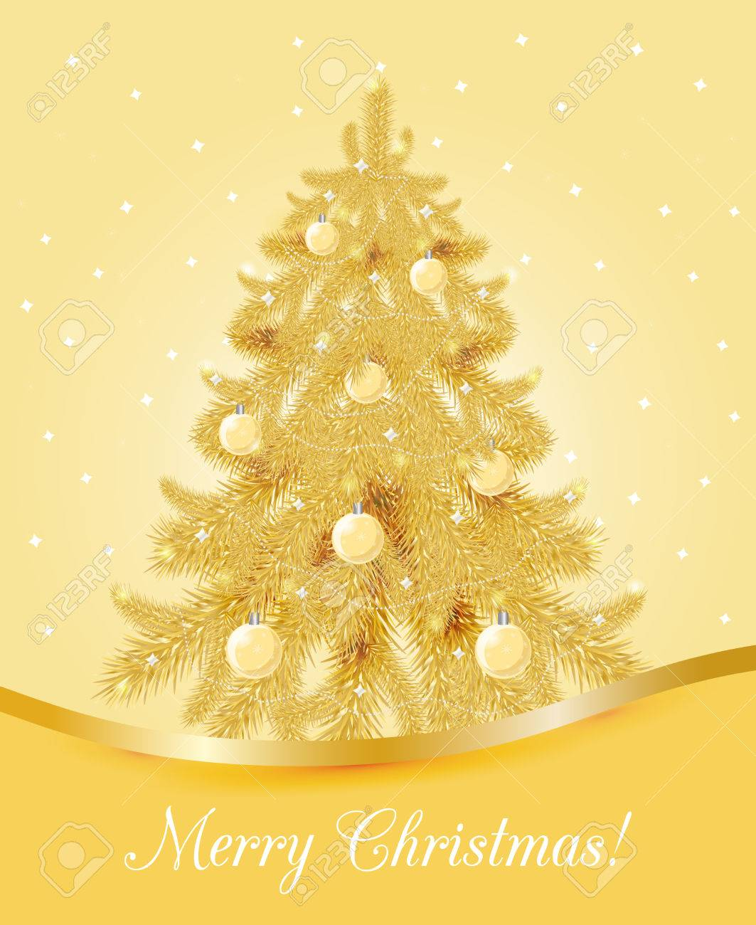 greeting card with golden christmas tree christmas and new year