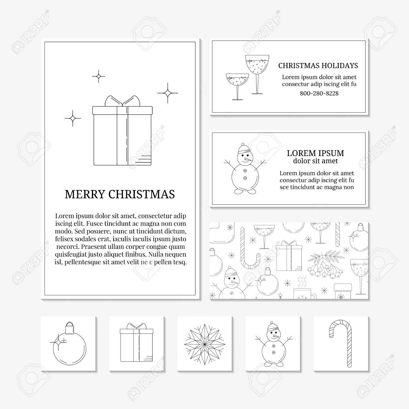 White Card Templates With Linear Christmas Icons Set Of Christmas