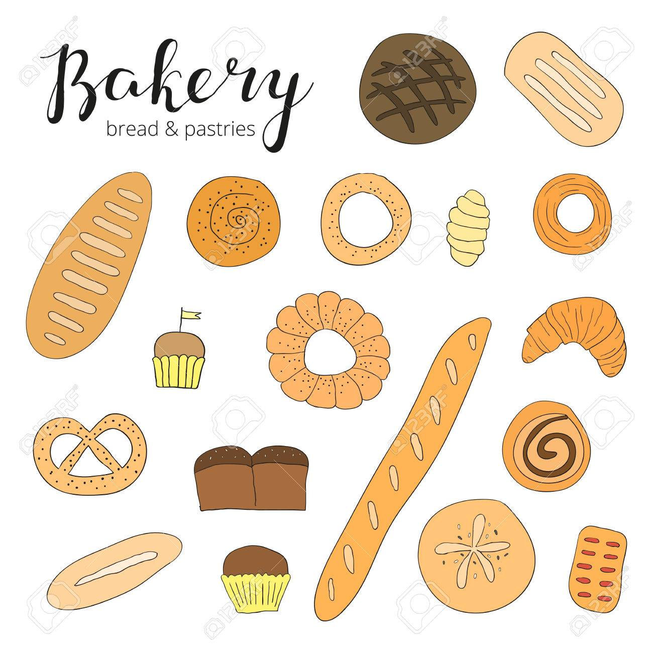 Hand Drawn Baking Bread And Pastries Doodle Bakery Products Muffins Croissant