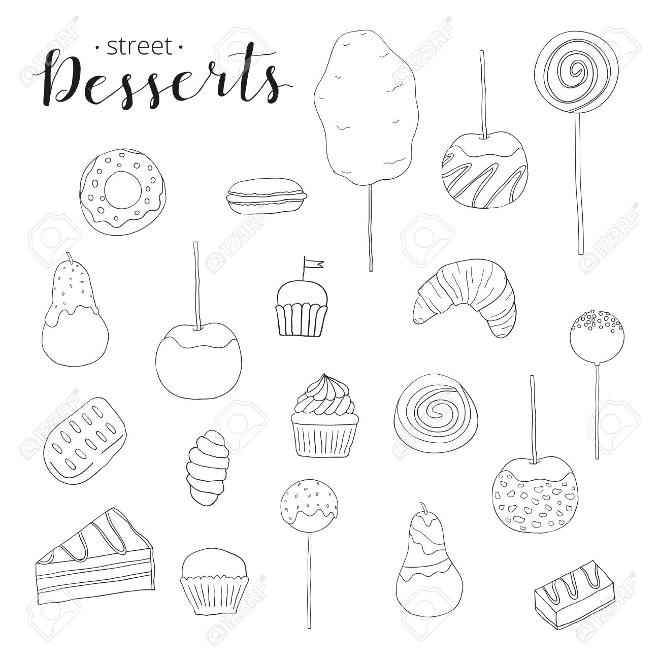 Collection Of Hand Drawn Desserts Cotton Candy Caramel Apple Royalty Free Cliparts Vectors And Stock Illustration Image 52369988