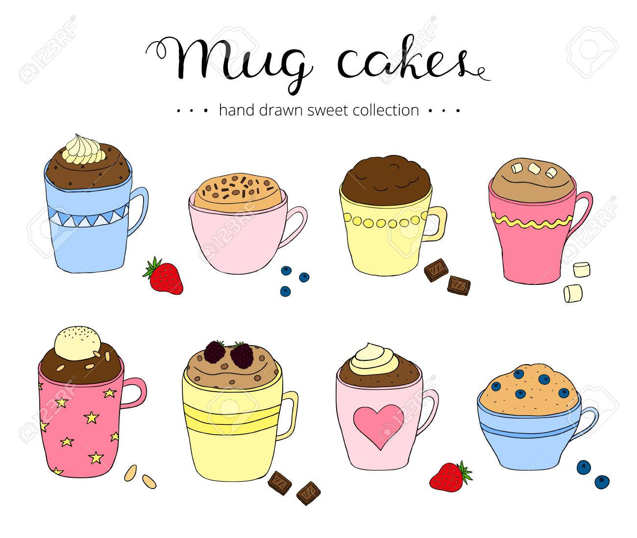 Collection Of Cute Doodle Mug Cakes Portional Cakes In Coffee Royalty Free Cliparts Vectors And Stock Illustration Image 55503048