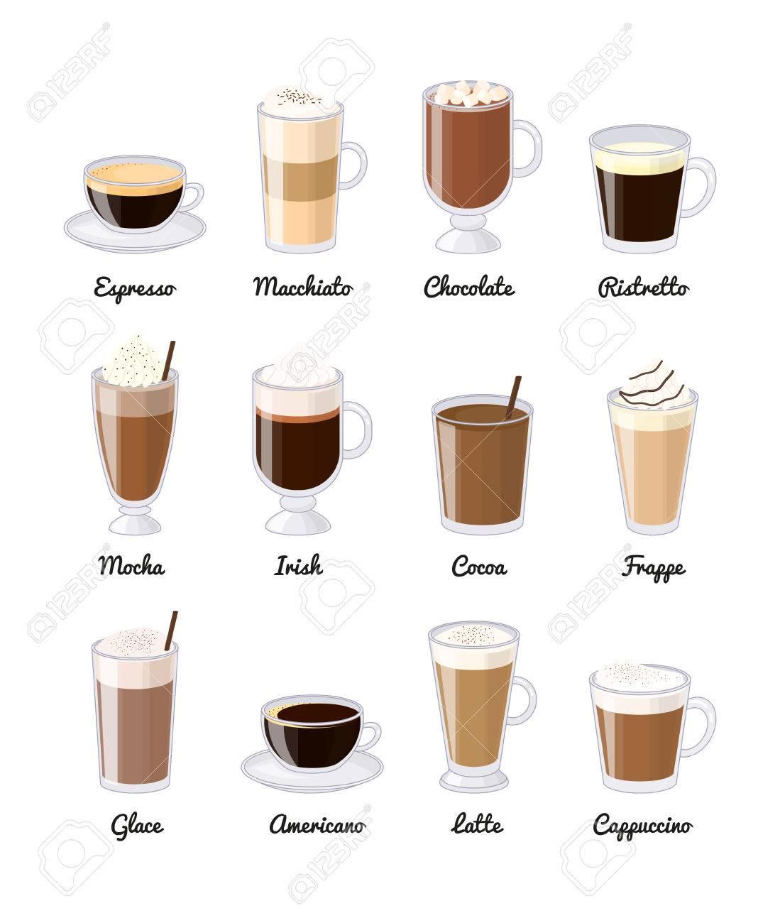 Verschiedene Kaffeegetränke Auf Weißem Hintergrund. Espresso ...