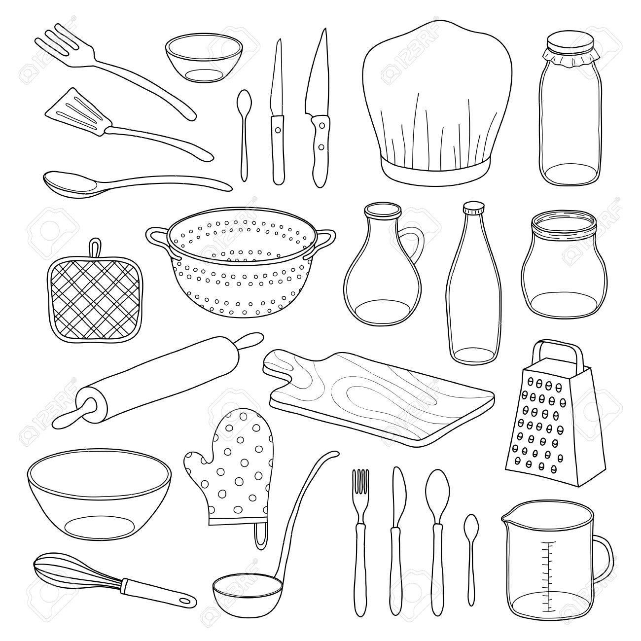 White Kitchen Utensils hand drawn outline kitchen utensils isolated on white background
