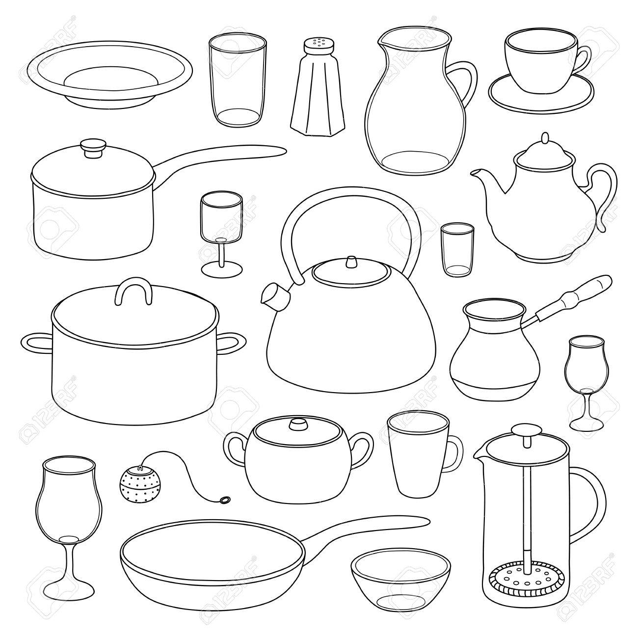 White Kitchen Utensils hand drawn outline kitchen utensils and dishes isolated on white