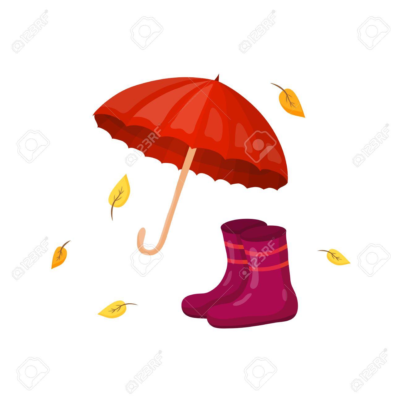 Parapluie, bottes de pluie et les feuilles jaunes dans le style de dessin animé isolé sur fond blanc.