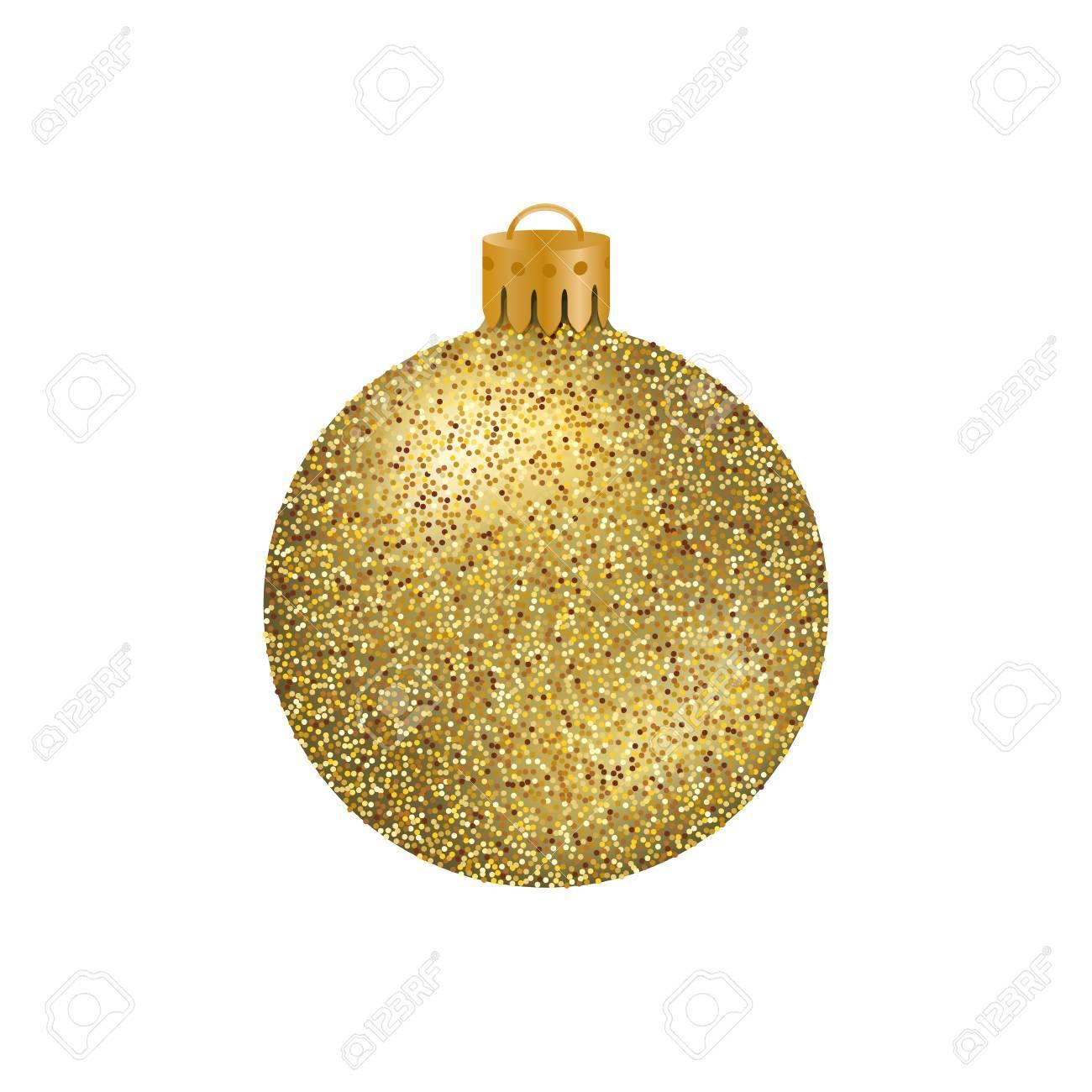 Réaliste Boule De Noël Doré Ou Babiole Avec Des Paillettes Texture