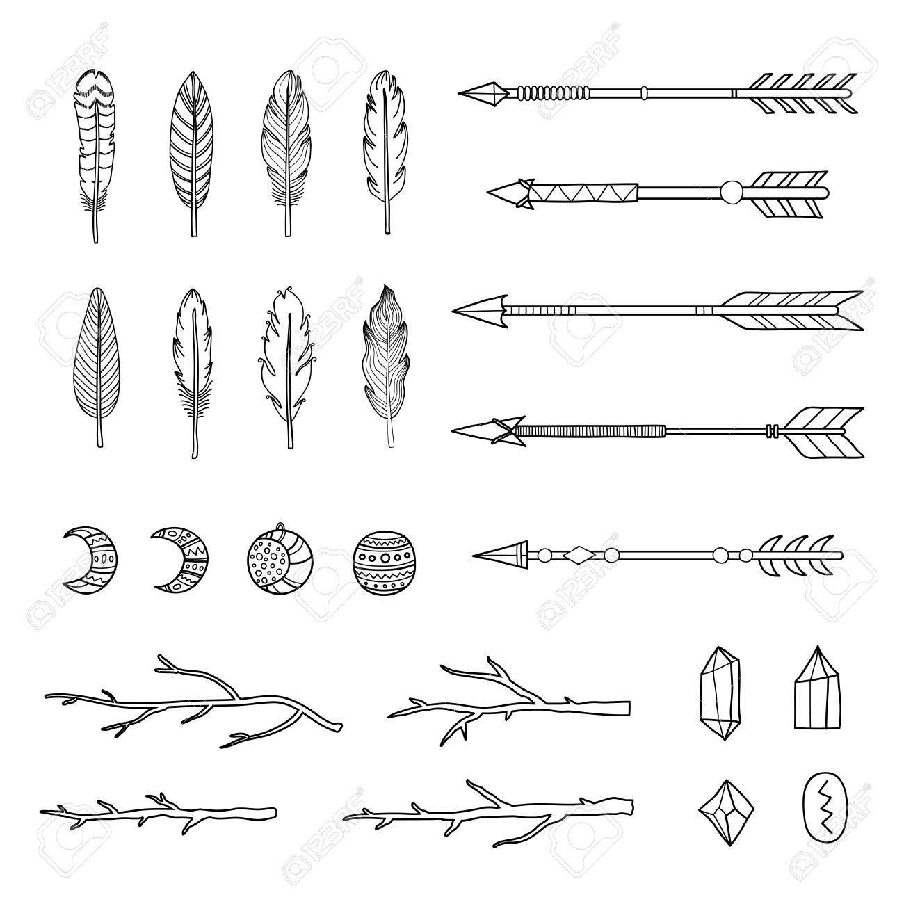 Colección De Dibujado A Mano Indio Plumas Boho Flechas Ramas Y Cristales Aislados Sobre Fondo Blanco Puede Ser Utilizado Para Las Invitaciones De