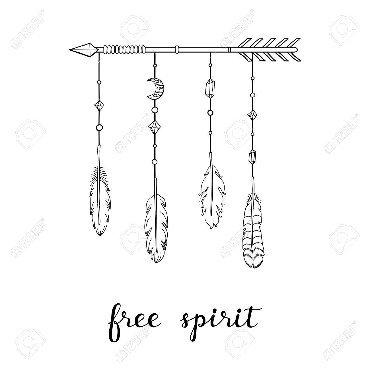 Inspirational Quote Free Spirit Poster With Hand Drawn Boho