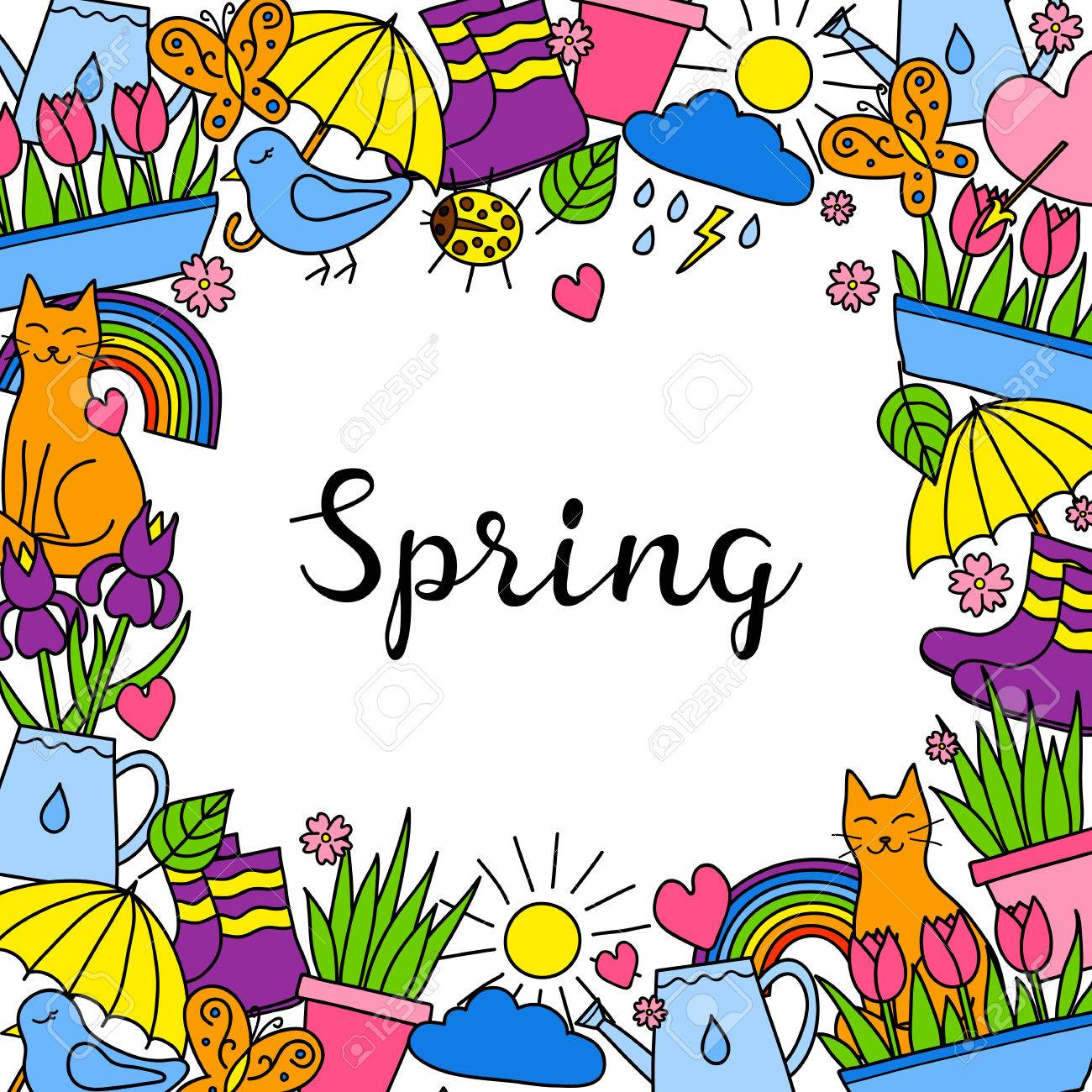 Background with doodle spring items.