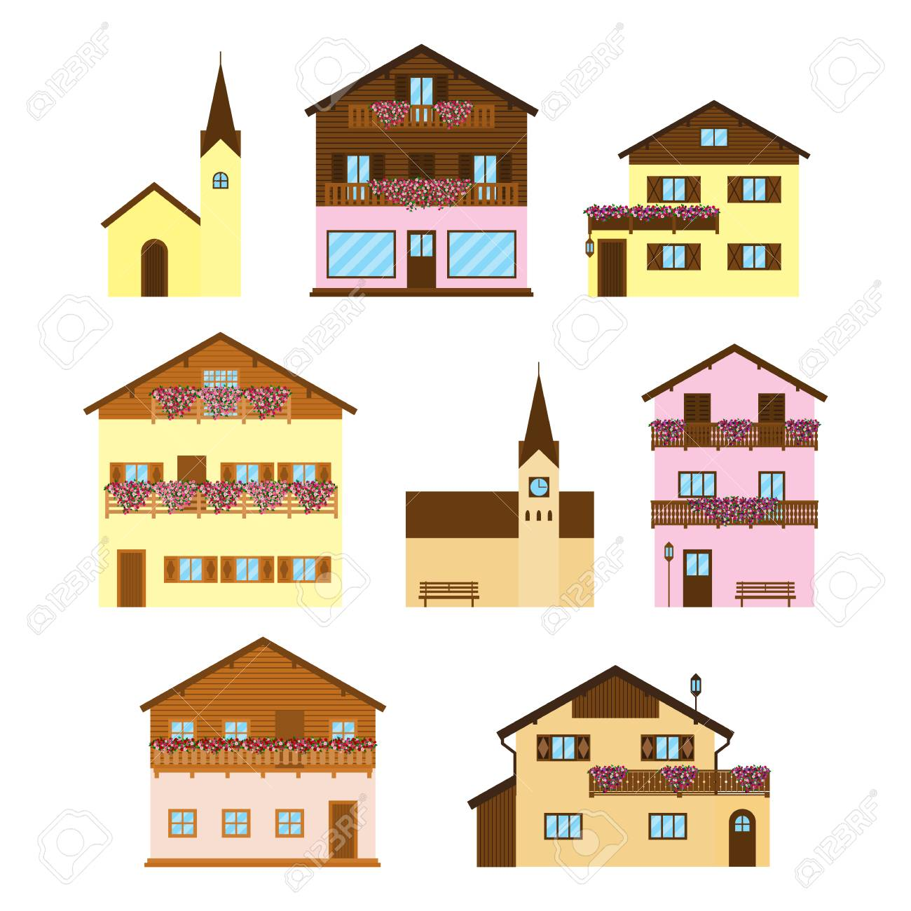 Set Of Alpine Wooden Houses Chalets Hotels And Churches In Flat Style Isolated On