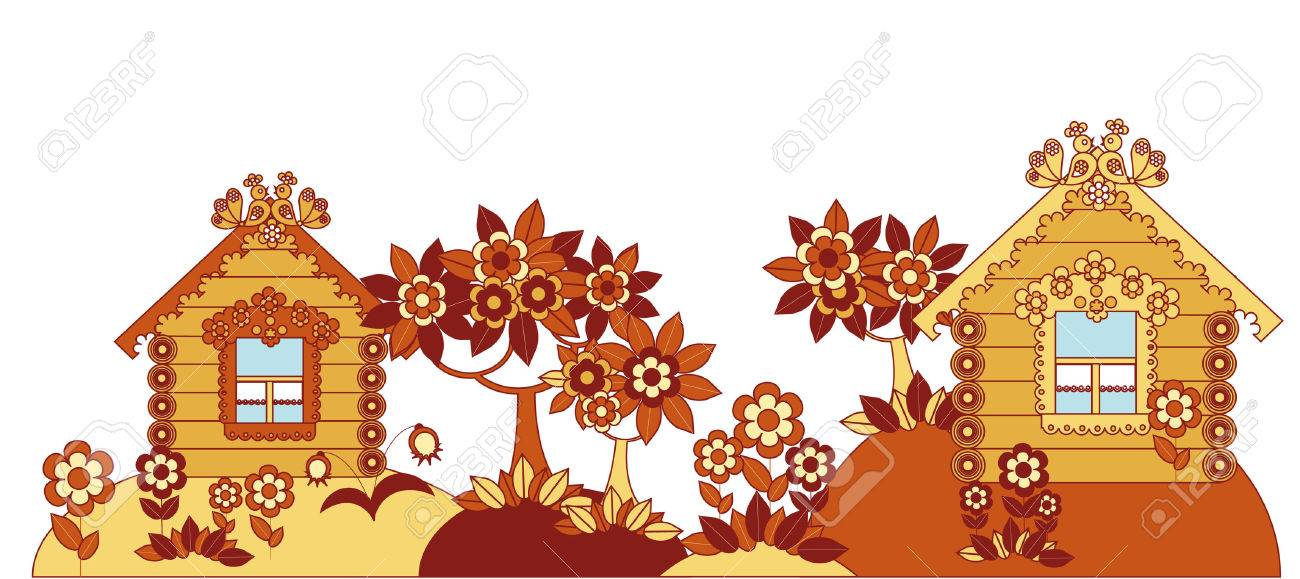 Figure comfortable suburban houses full of flowers and trees Stock Vector - 5406348