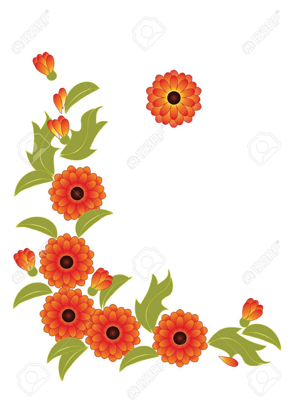 vignette from the stylized orange flowers and leaves of calendula - 5522686