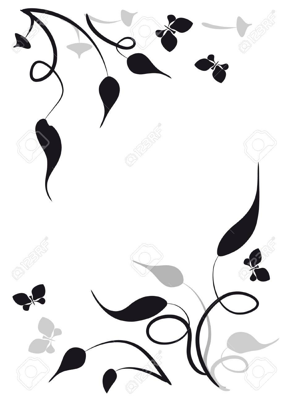 Decorative vignette with silhouettes of leaves and butterflies Stock Vector - 8578450