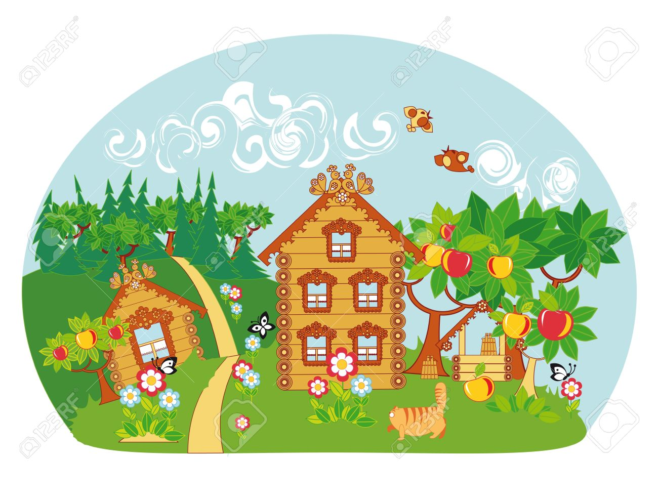 An idyllic rural landscape. Wooden houses, apple trees, well, blooming flowers and birds and butterflies. Stock Vector - 14007155