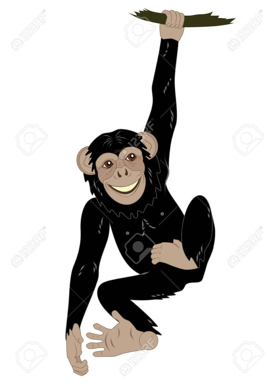 funny monkey hanging on the vine royalty free cliparts vectors