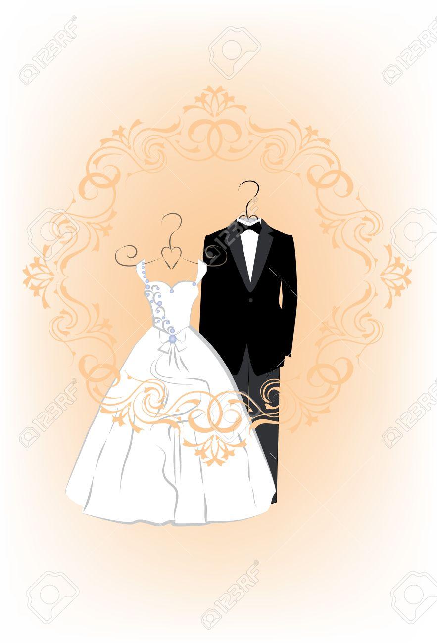 89d142f31a08 Tarjeta de invitación de la boda con la ropa de una novia y el novio en un  hermoso marco. ilustración vectorial