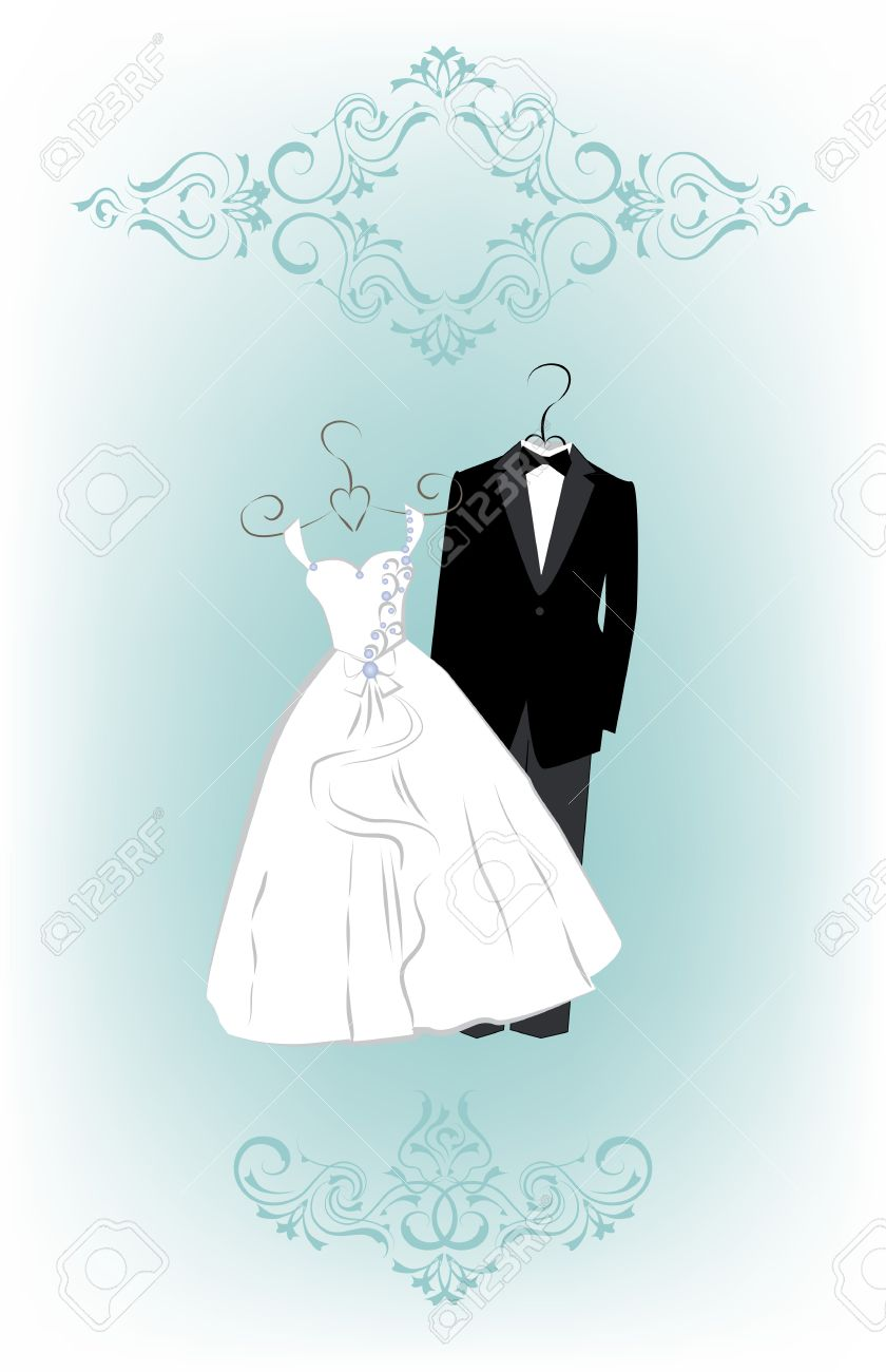 Wedding Invitation Card With Cartoon Dress Of Bride And Groom ...