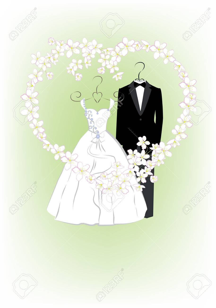 Wedding Invitation With Bride And Groom Clothes And Flower Frame ...