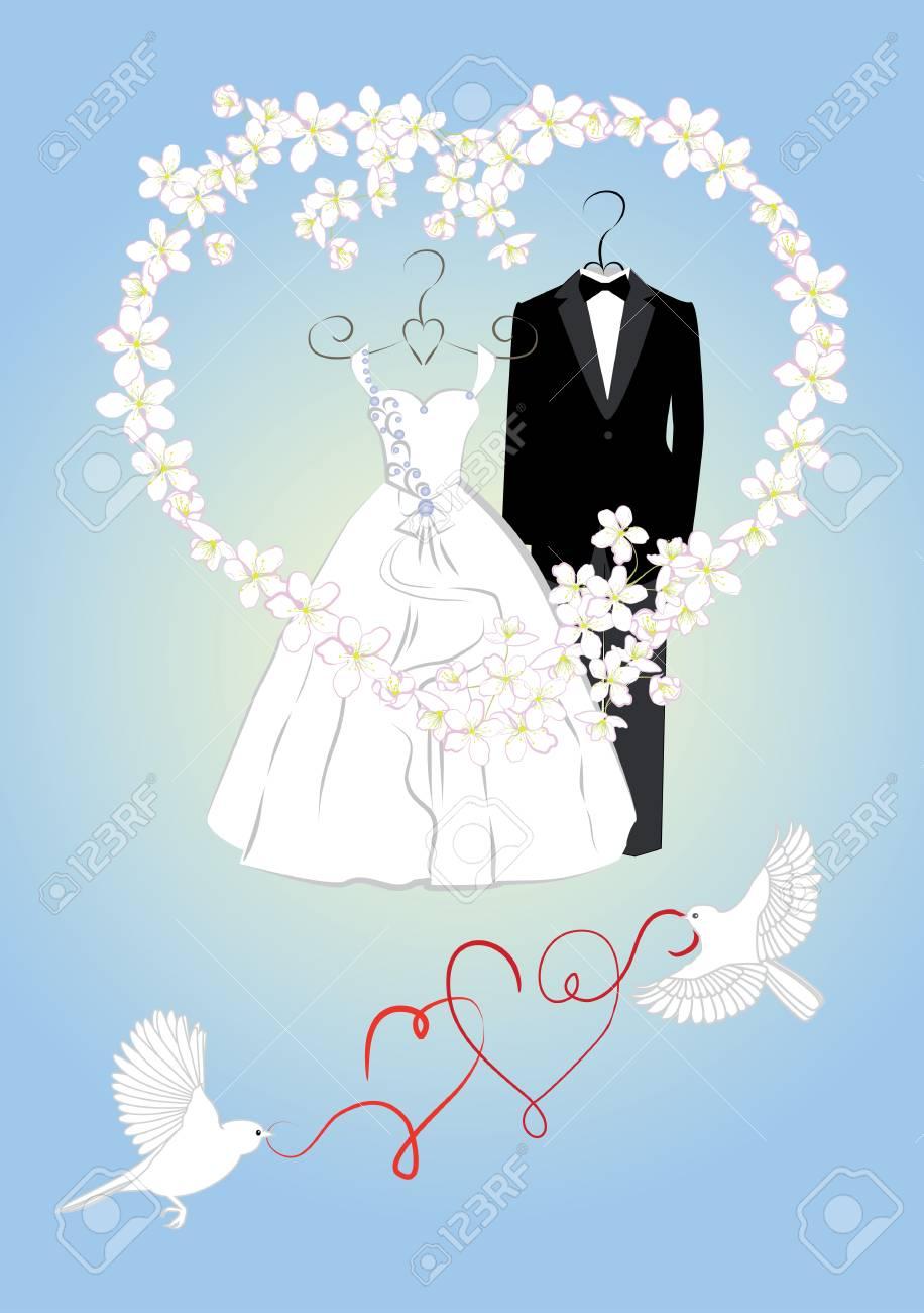 ccca7cdf1bb0 Invitación de boda con la novia y el novio de la ropa y del marco de flores  en forma de corazón. ilustración vectorial