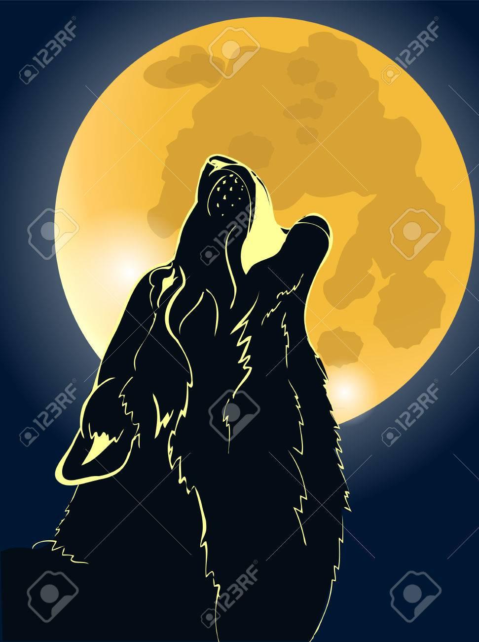 Lobo Aullando A La Luna Ilustración Vectorial Ilustraciones
